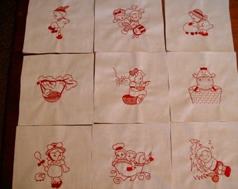 quilt blocks machine embroidered quilt blocks  nursery rhyme quilt blocks Set of 9 mother goose  quilt blocks redwork quilt blocks