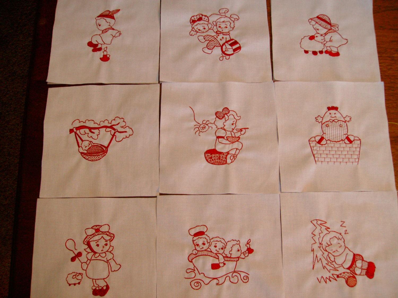 Quilt Blocks Machine Embroidered Quilt Blocks Nursery Rhyme