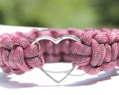 Large Tibetan Silver Heart Charm BANGLE on 550 Paracord Survival Strap Bracelet without Buckle