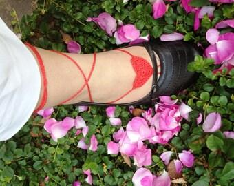 PDF Pattern Barefoot sandals heart instant download