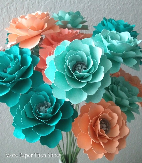Paper Flowers - Home Decor - Weddings - Salmon - Peach - Sea Foam - Aquamarine - Set of 48 - Made To Order