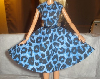 Circle skirt dress in blue and black Leopard print for Fashion Dolls - ed389