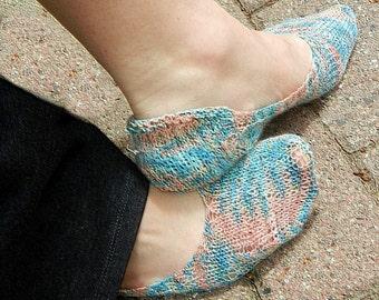 Footie Sock Knitting PDF Pattern, customize to fit your foot, Flat Shoe Socks, Ballet Slippers, Peep Sockette, Download Digital Pattern,