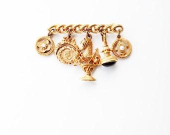 Vintage 80's Maxine Denker Gold Charm Brooch
