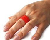 Coral Red Ring from Faceted Glass Bead