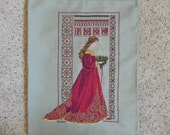 RESERVED FOR CARMEN Celtic Lady of Christmas Cross Stitched Picture