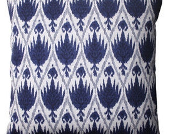 Pillow Cover Cushion  navy ikat Casablanca  pattern, other sizes available, pick your color