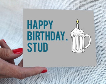 Funny Birthday Card Boyfriend / Happy Birthday Stud - Birthday Card / Birthday Card Boyfriend, Birthday Card Husband