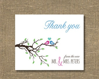 Thank You From the New Mr and Mrs | Wedding Thank You Cards | Personalized Thank You Note | Love Birds Wedding Thank You Cards | Card Set
