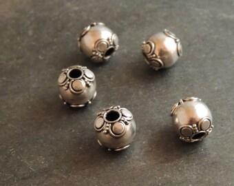 Bali Sterling Silver Beads, Fancy End Beads, Handmade Silver Beads 2 Beads, Artisan Jewelry
