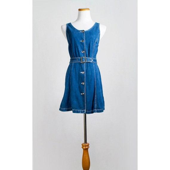 Vintage 80s Blue Jean Dress / 1980s Gap Button Down Mini Jumper with Belt  / 15 PERCENT OFF SALE