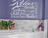 Relax Collage - bath bubbles tranquil  calm soak Vinyl Lettering wall  decal words graphics    Art Home decor itswritteninvinyl - itswritteninvinyl