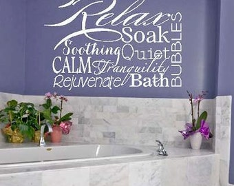 Relax Collage - bath bubbles tranquil  calm soak Vinyl Lettering wall  decal words graphics    Art Home decor itswritteninvinyl