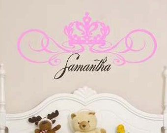 Personalized Crown Name - girls-childrens - Vinyl Lettering wall words graphics  decals  Art Home decor itswritteninvinyl