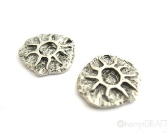 Sun Petroglyph Charms, 2pc Antiqued Silver Pewter, 13x14mm
