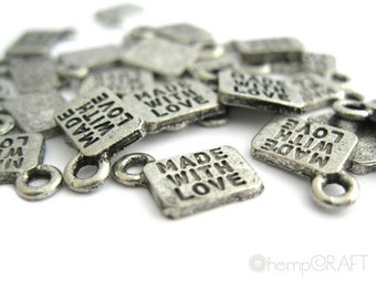Made With Love Charms, 6pc Antiqued Silver Pewter, 11x8.5mm