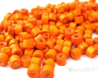 Wood Beads, Orange Dyed Tube, Small 3x4mm, 10g Lot