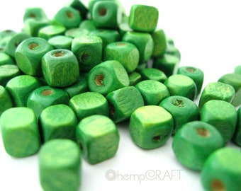 Wood Cube Beads, Spring Green, 50pc, 5mm