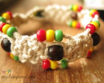 Rasta Hemp Bracelet, Beaded Macrame Jewelry