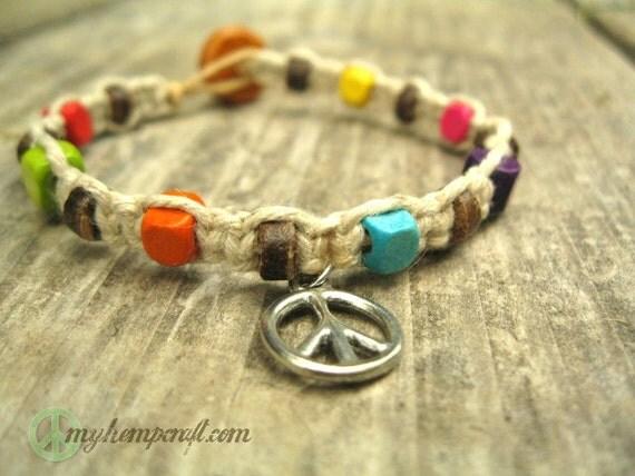 Hemp Bracelet, Peace Sign Charm Bracelet, Coconut and Wooden Beads, Beach Jewelry