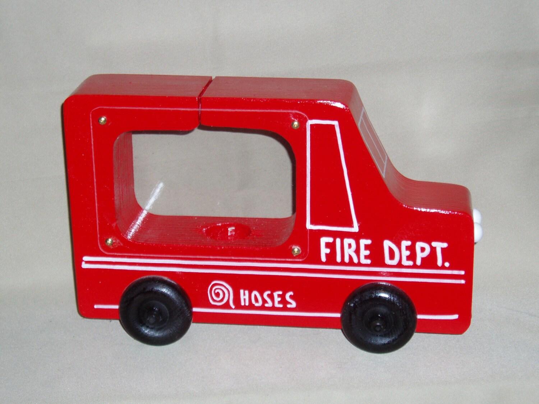 fire truck see thru wooden piggy bank. Black Bedroom Furniture Sets. Home Design Ideas