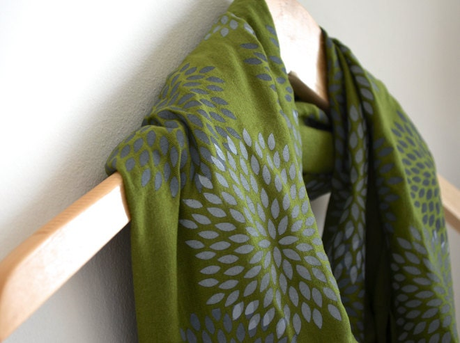 INFINITY SCARF - Screen Printed - Gray Flowers on Olive Green - Mothers Day