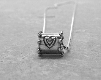 Heart Necklace, Heart Slider Pendant, Heart Jewelry, Heart Pendant, Charm Necklace, Sterling Silver Jewelry, Sterling Silver Heart Necklace