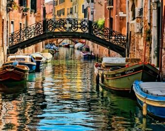 "16 x 24"" large art print - Venice, Italy - Bridge of Sighs - Fine art travel photography - blue, green, terracotta"
