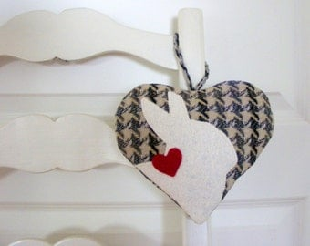 Heart ornament, wool felt heart, Valentine heart, Easter ornament