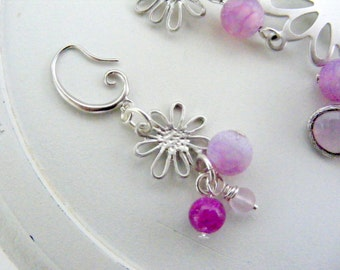 Summer necklace and earrings set, lavender and pink sea glass necklace