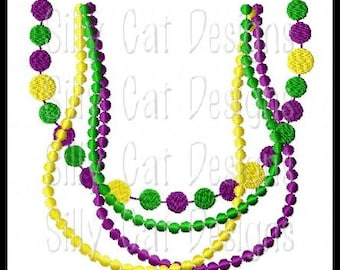 Mardi Gras Beads Pearl Necklace Embroidery Design
