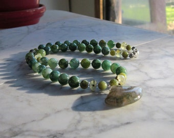 Green Moss Agate, Prehnite and Nephrite Jade Natural Stone OOAK Heart Chakra Healing Necklace