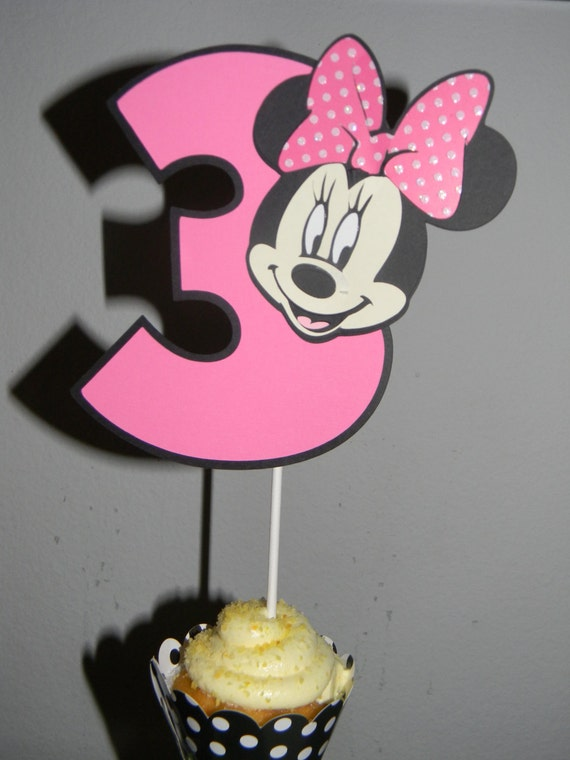 Items similar to Minnie Mouse Cake Topper - Pink/Pink and ...