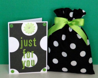 Black and White Dots Just for You Blank Greeting Card - Lime Green, Flower, Glitter, Jewels, Big Dots, All Occasion, Handmade, Novelty