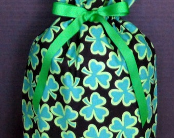Shamrocks on Black Medium Fabric Gift Bag - Irish, Ireland, Clover, Clovers, Green, St. Patrick's Day