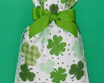 Shamrocks and Dots Small Fabric Gift Bag - Irish, Ireland, Saint Patrick, Clover, Plaid, Green, White