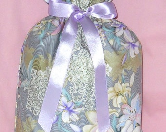 Easter Lilies Medium Fabric Gift Bag - Lily, Flowers, Floral, Lace, Purple, Lavender, Pink, Blue, Green, White, Gray, Beige, Gold, Glitter