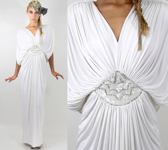 70s TADASHI  GREEK Goddess Maxi Gown - Vintage Clothes by TatiTatiVintage on Etsy