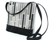 Crossbody Bag Fabric Hip Bag Purse Pouch - Gridlock Geometric in Black and Gray
