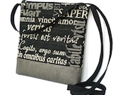 Cross Body Bag, Fabric Hip Bag, Pouch Purse - Melius Latine Tapestry in Black and Beige