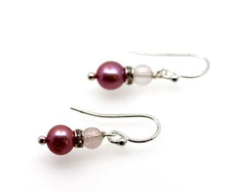 Pink Pearl & Rose Quartz Drops By Twinkle Jewellery - Fifi drops, Bridesmaid Jewellery, Ready to ship