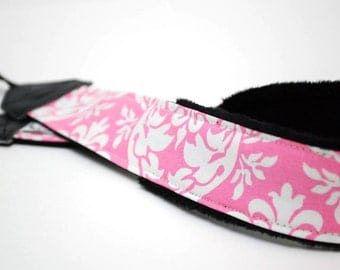 Pink Camera Strap - DSLR Camera Strap - Nikon Camera Strap - Padded Camera Strap - Camera Accessories - Canon Straps - Pink Damask