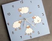 Clock-Nursery  clock , children canvas blue sheep clock, Decorative hand painted Square unique baby clock