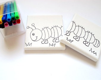 DIY kids mini canvas coloring kit- Caterpillar , children canvas kit project, kids DIY craft activity, children decor