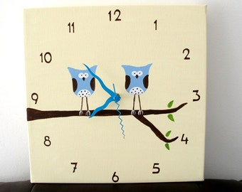 Children's Wall clock- Hand painted on canvas- Two Blue owls on a branch- Cream/ Antique White clock for nursery, kids clock