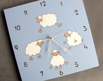 Clock-Nursery  clock , children canvas blue sheep clock, Decorative hand painted Square unique baby clock