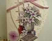 Vintage Flower Handmade Card Embossed Heart Birthday Greeting Mother's Day