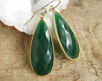Genuine Emerald Earrings Large Rough Cut Drop Earrings 18K Gold Vermeil Bezel Set