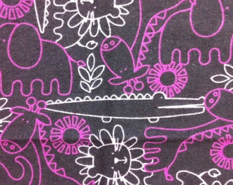 Jungle Outlines - Brown and Pink - Cotton Flannel Fabric BTY