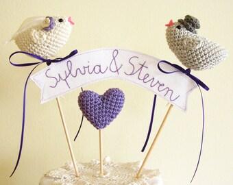 Bird Cake Topper, Personalized Cake Topper, Wedding Cake Topper, Crochet Love Birds, Custom Cake Topper